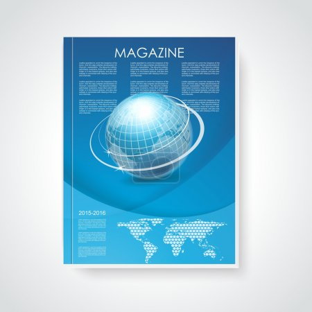 Magazine or brochure cover with world map and globe