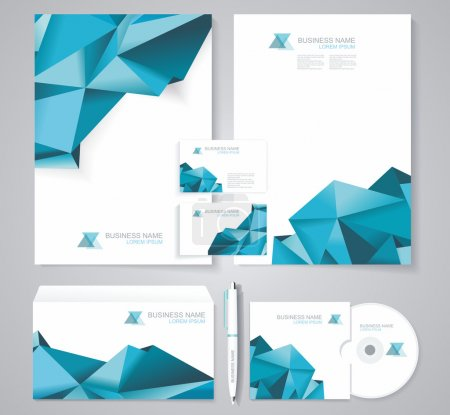 Illustration for Corporate identity template with blue polygonal design elements. Documentation for business. - Royalty Free Image