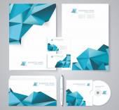 Firemní identita šablony s modrými prvky polygonální