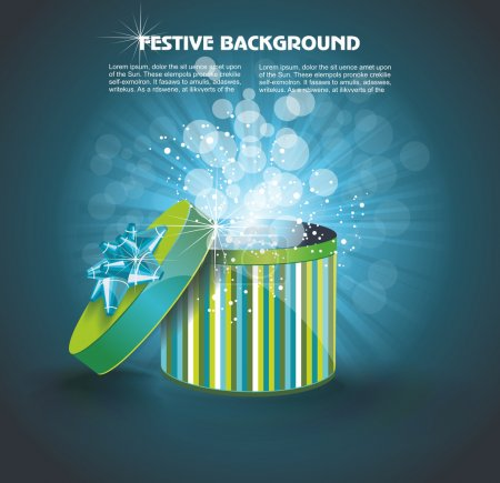 Illustration for Vector surprise inside open gift box design template. Festival vector background with open gift. - Royalty Free Image
