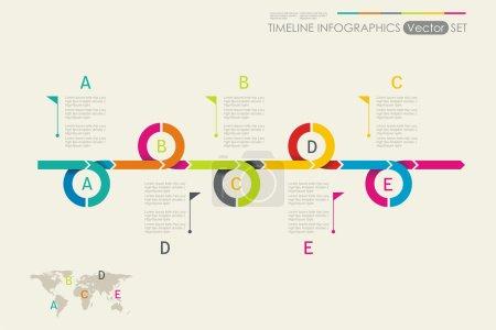 Illustration pour Conception de ligne de temps. Peut être utilisé pour la mise en page du flux de travail, diagramme, options de nombre, options d'étape, conception web, modèle de bannière, infographie, chronologie. - image libre de droit