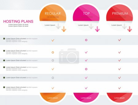 Price list widget with 3 plans for online services,  websites an
