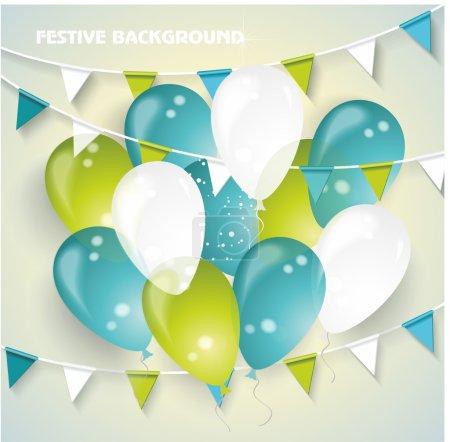 Illustration pour Fond vecteur festif avec des ballons colorés, des fanions et des confettis. Anniversaire fond . - image libre de droit
