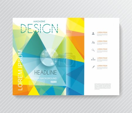 Magazine cover with pattern of geometric shapes, texture with fl