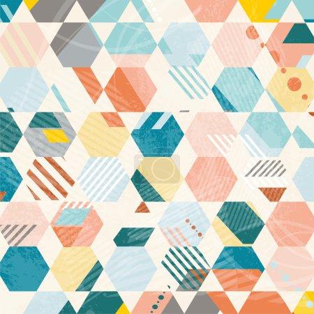Abstract Retro Geometric hexagonal pattern.