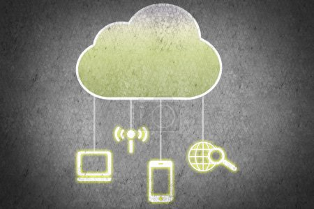 Computing cloud with business icons