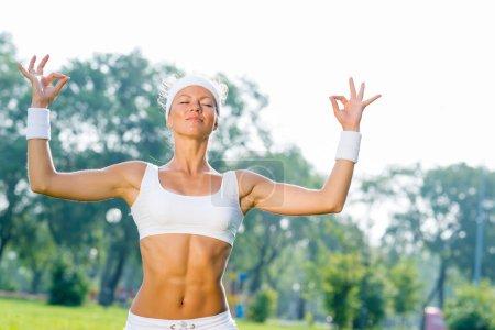 sport woman practicing yoga