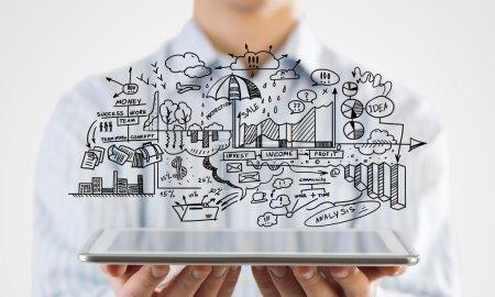 Businessman demostrating strategy plan