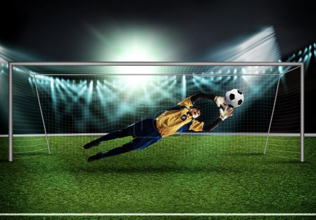 Goalkeeper in gate jumping