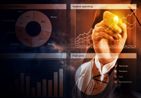 Photo for Close view of businessman drawing on screen market infographs - Royalty Free Image