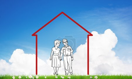 Photo for House figure as real estate symbol on clouds background - Royalty Free Image