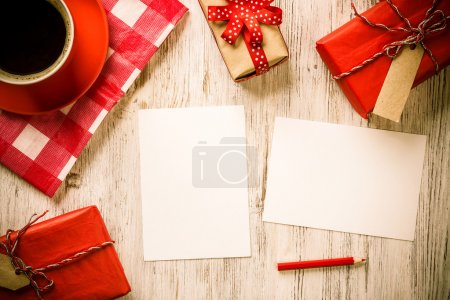 Photo for Blank paper sheets, coffee cup and cookies top view on wooden table - Royalty Free Image