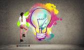 """Постер, картина, фотообои """"женщина в случайный рисунок творческие идеи"""""""