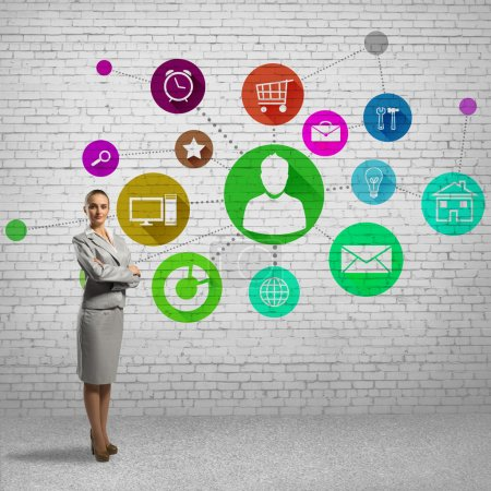 Businesswoman and application icons