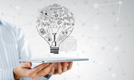 businessman presenting his idea for E-business