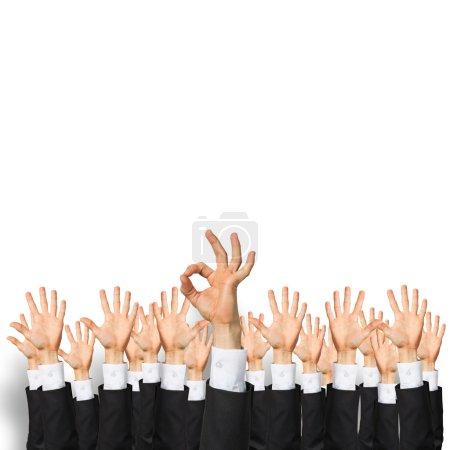 hands of businesspeople showing gestures