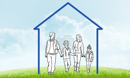 Photo for Happy family in house. House figure as real estate symbol on clouds background - Royalty Free Image