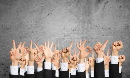 Photo for Set of hand gestures and icons. Many hands of businesspeople showing different gestures - Royalty Free Image