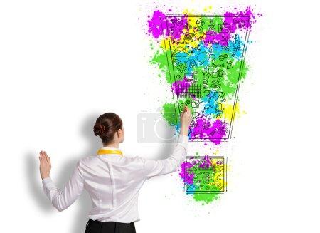 Photo pour Vue arrière de femme d'affaires dessin idées d'affaires sur le mur - image libre de droit