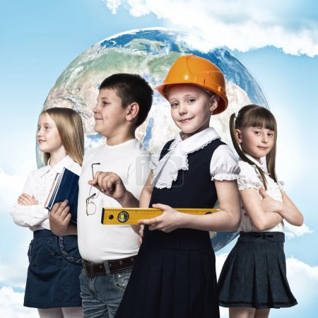 Photo for Future profession. Children of school age trying different professions. Elements of this image are furnished by NASA - Royalty Free Image