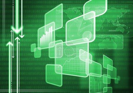 Photo pour Image de fond numérique avec graphiques et diagrammes. Technologies innovantes - image libre de droit