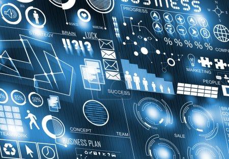 Photo pour Image de fond d'entreprise numérique avec des icônes sur l'écran multimédia. Technologies innovantes - image libre de droit