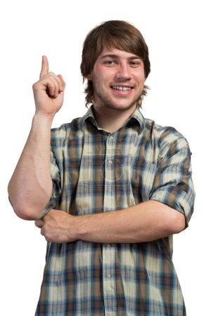 Photo pour Jeune homme réfléchi dans occasionnel isolé sur fond blanc - image libre de droit