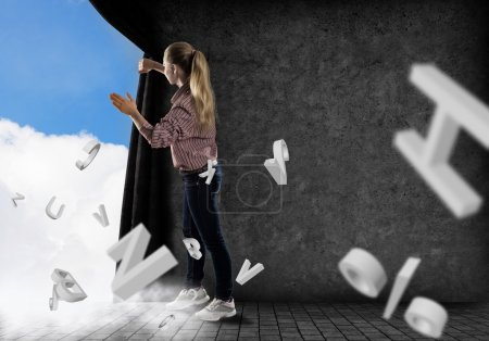Woman pushes the curtain looking at clouds