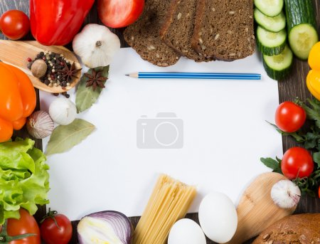 Photo for Set of vegetables and spices on kitchen table - Meal preparing - Royalty Free Image