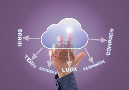 Businessman touching cloud icon with finger