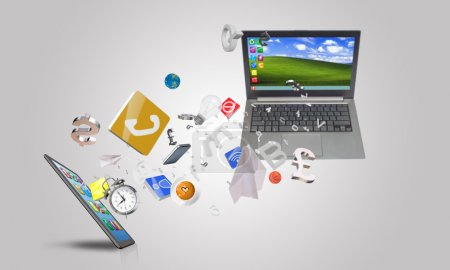 Laptop and smartphone and icons