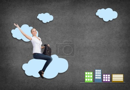 Girl riding on cloud
