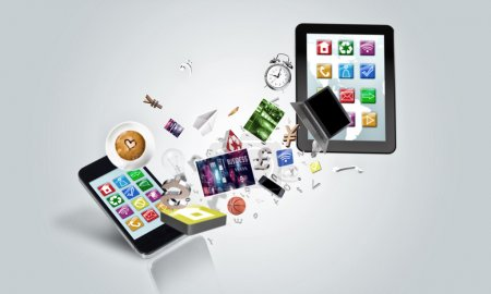 Electronic devices on white background.