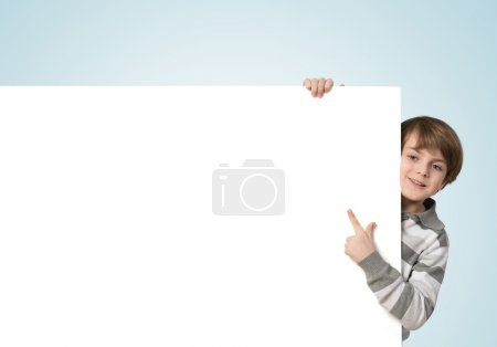 Boy with advertising banner