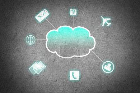 Computing cloud business icons