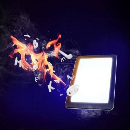 mobile phone burning in flames