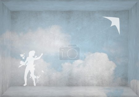 Silhouette of teenager girl with flying kite