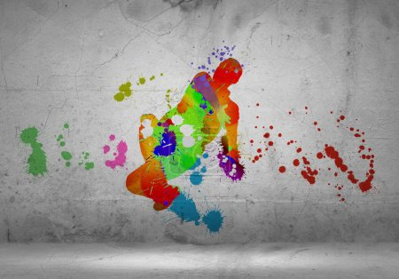 Abstract color silhouette of dancer