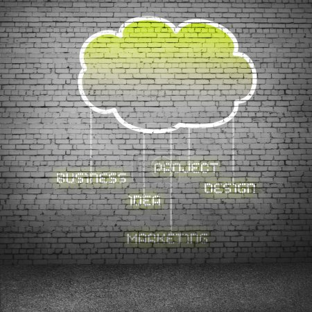 Computing cloud on cement wall