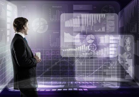 businessman and  modern virtual panel