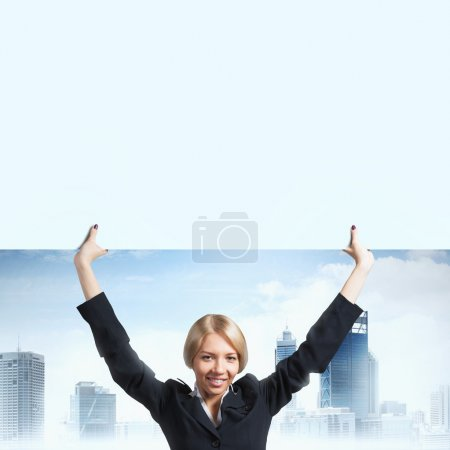 businesswoman with white blank