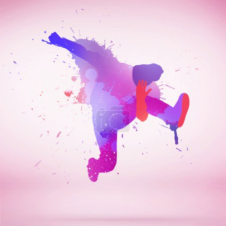 colorful silhouette of dancer