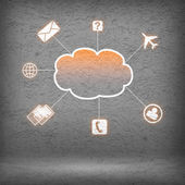 Colorful cloud with business icons