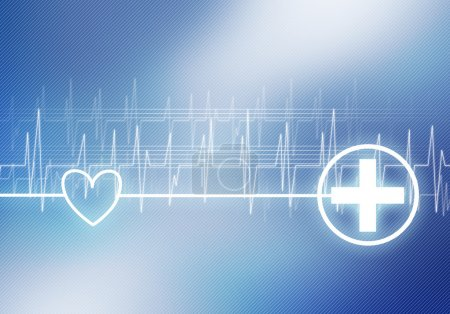 Digital background image with cardiogram