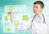 ženský lékař dotykem ikony