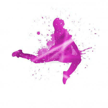 Photo for Colorful silhouette of dancer in jump on white background - Royalty Free Image