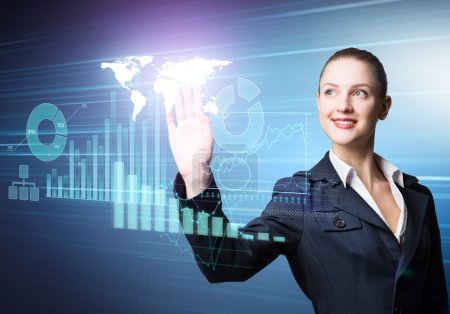businesswoman working with virtual panel