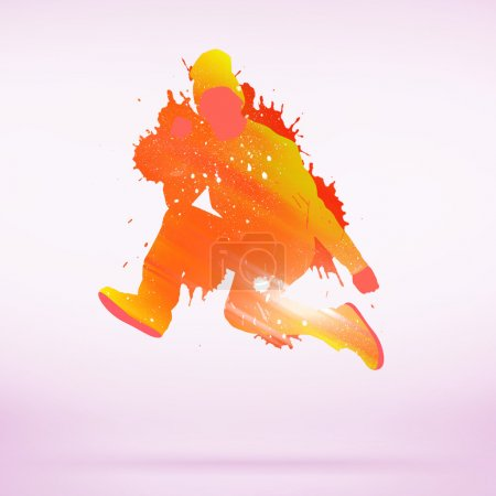 Colorful dancing silhouette