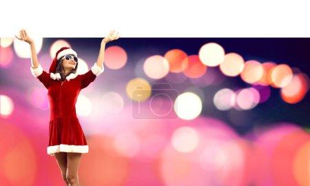 Santa woman with blank banner.