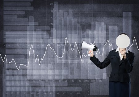 businesswoman with megaphone and diagrams